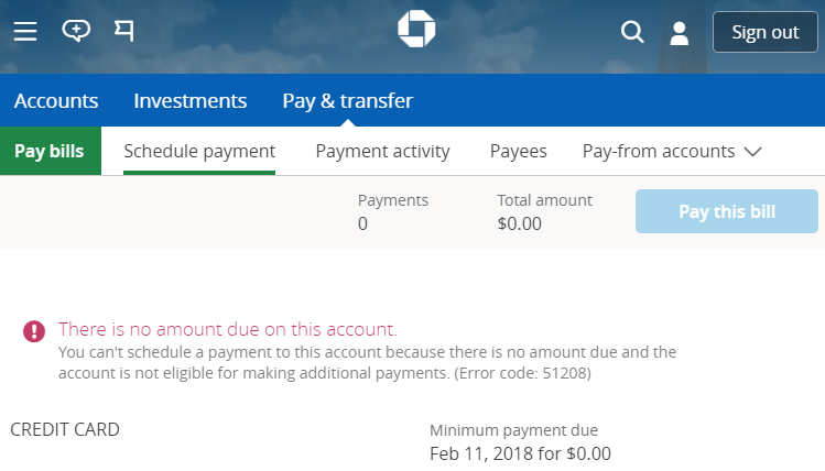 Chase will not allow over-payments